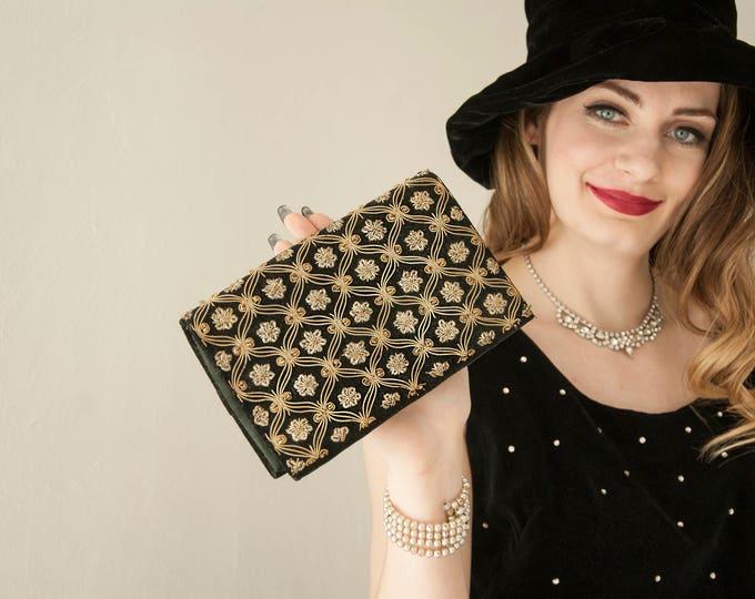 Vintage 1940s velour gold bullion clutch purse, metal floral embroidery embellishment, satin interior 1950s