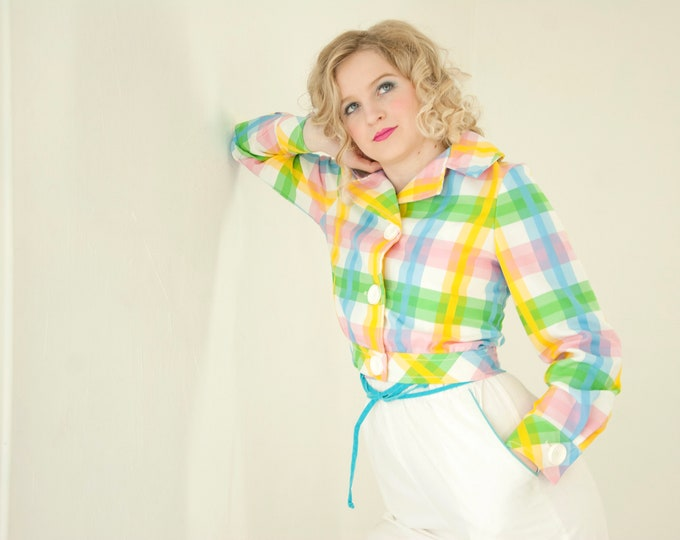 Vintage colorful plaid jacket, short cropped, yellow pink turquoise blue white pastel, 1970s retro S