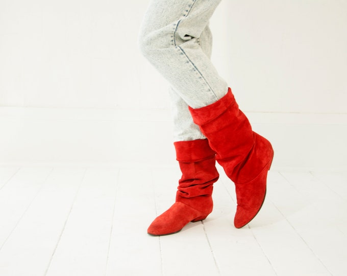 Vintage red suede slouch boots, tall 1980s leather 9