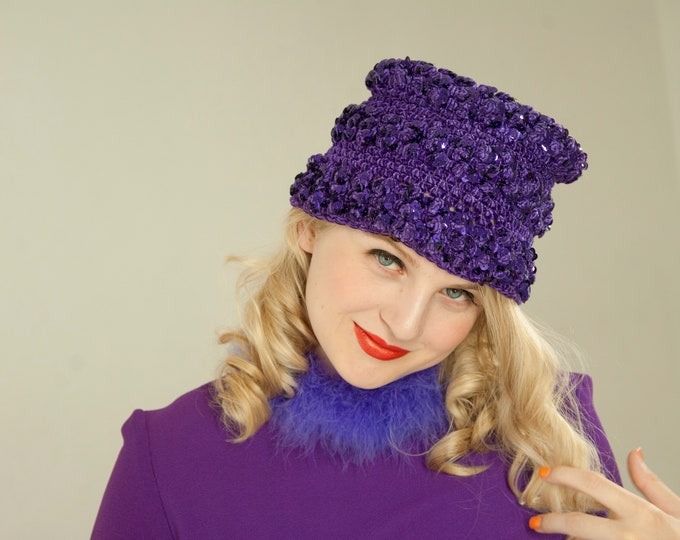 Vintage purple knit hat, sequins stocking crochet glam 1960 mod shiny go-go