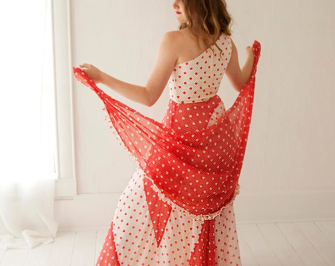 Vintage red maxi dress shawl set, off-shoulder white halter polka dot boho empire waist cotton wrap sun dress XS S