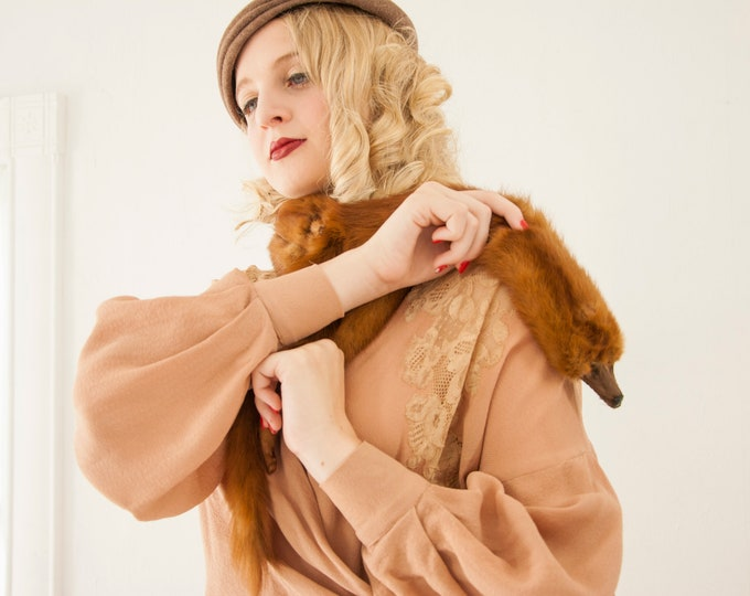 Vintage 1940s mink fur scarf, brown whole pelt wrap stole striped collar formal winter pin-up