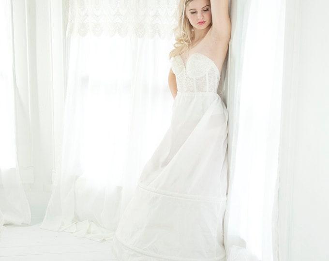 Vintage Gunne Sax hoop skirt, white crinoline, full long slip petticoat, prom bridal wedding dress gown, adjustable lingerie S M L XL