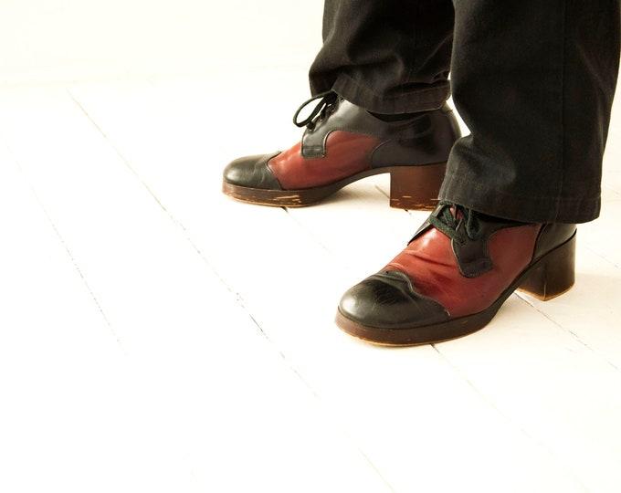 Vintage black red men's shoes, 1970s platform burgundy dark oxblood leather dress formal, Weyenberg 9 10