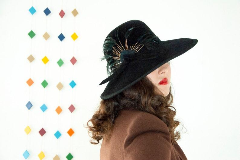 Vintage 1940s black wide-brim hat large wool sunhat wispy image 0