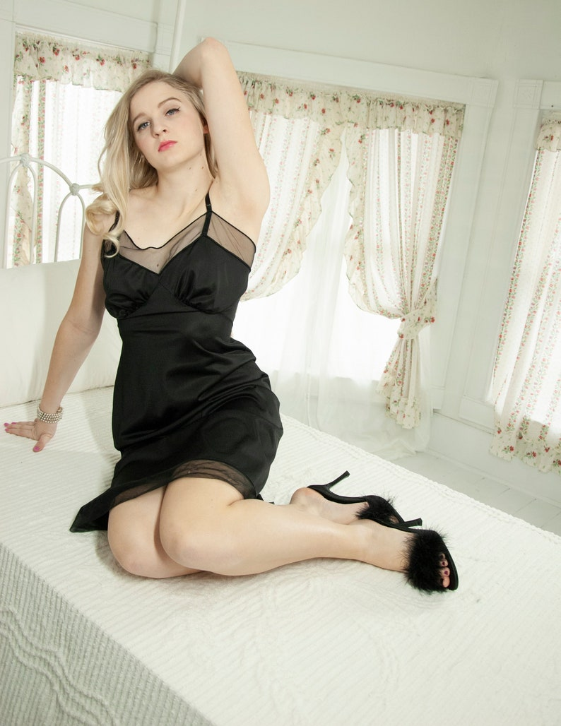1f983ab76c9 Vintage 1950s black slip dress sheer nylon pin-up knee-length