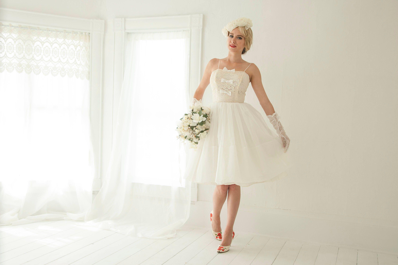 Vintage 1950s Wedding Dress Sleeveless Short Fit And Flare Etsy