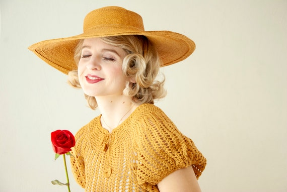 Vintage 1930s straw sun hat, woven natural wheat … - image 4