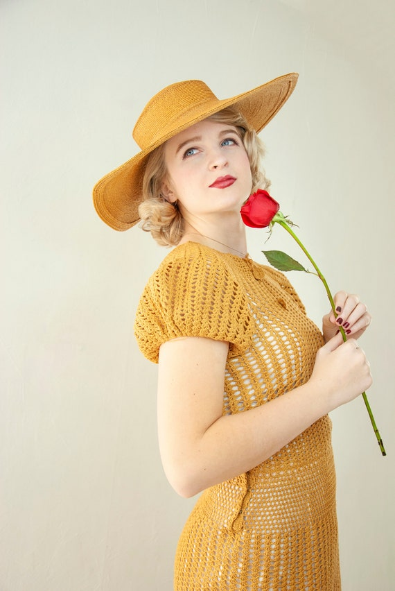 Vintage 1930s straw sun hat, woven natural wheat … - image 6