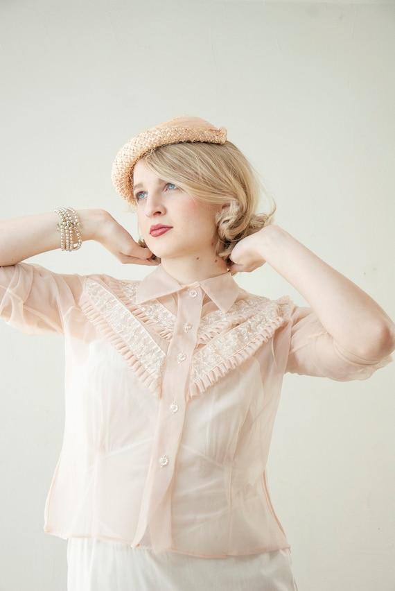 Vintage 1950s sheer pink blouse, pastel light nylo