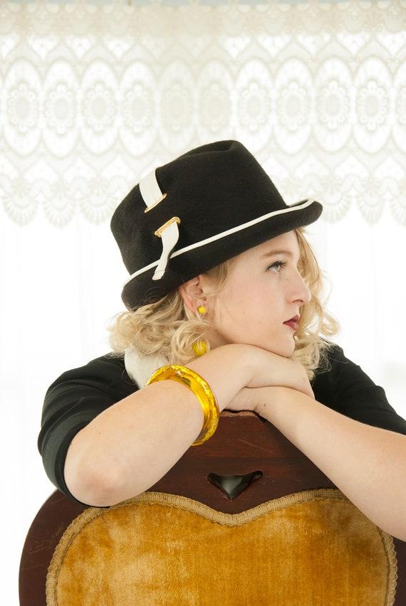 Vintage black fedora hat, white vinyl trilby, wool