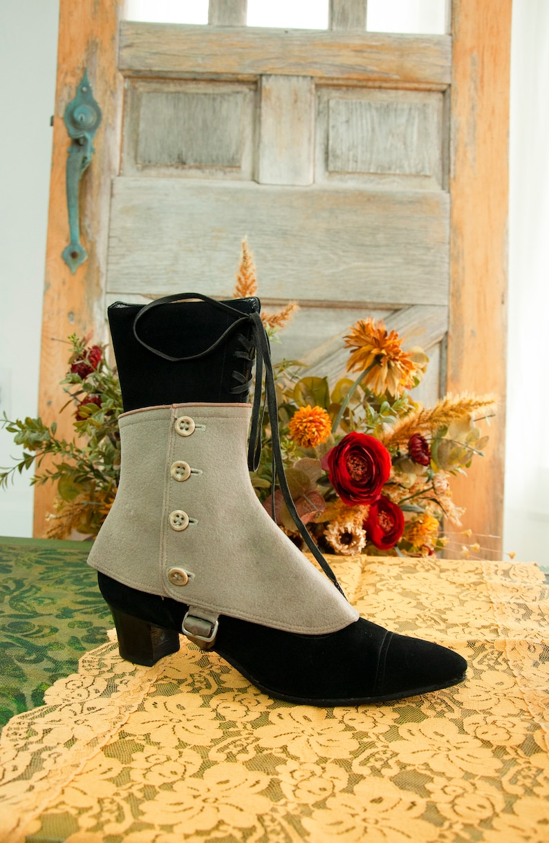 Antique Victorian light gray spats wool shoe boot ankle image 0