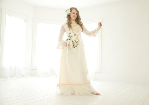 Vintage boho wedding dress, peach pink accents, Vi