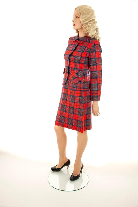 Vintage red plaid suit, two-piece wool tartan jack