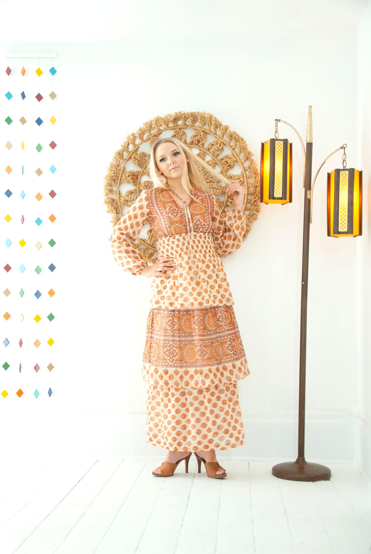 a49f034c5b Vintage orange paisley dress, long sleeve sheer summer maxi boho ...