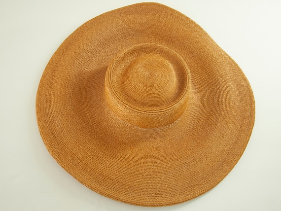 Vintage 1930s straw sun hat, woven natural wheat … - image 8