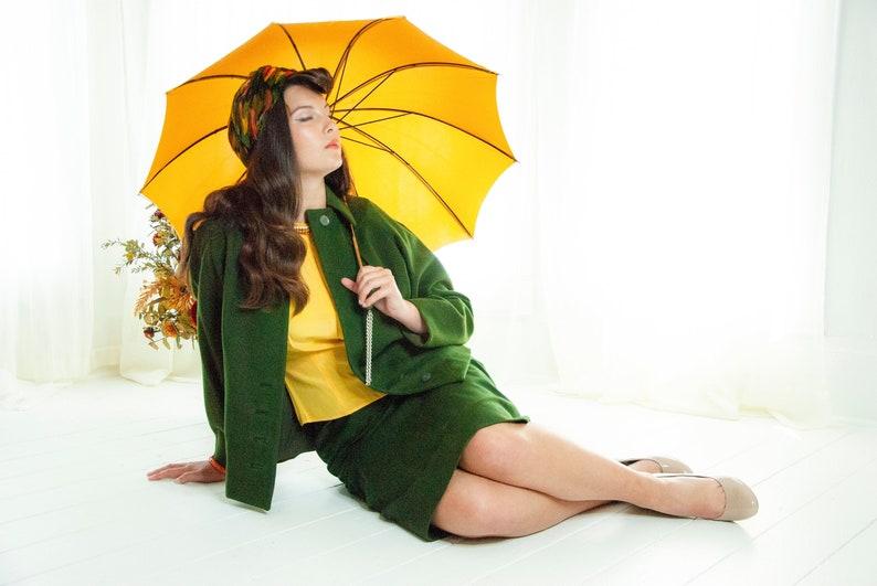 Vintage 1950s green suit two piece skirt wool jacket dark image 0