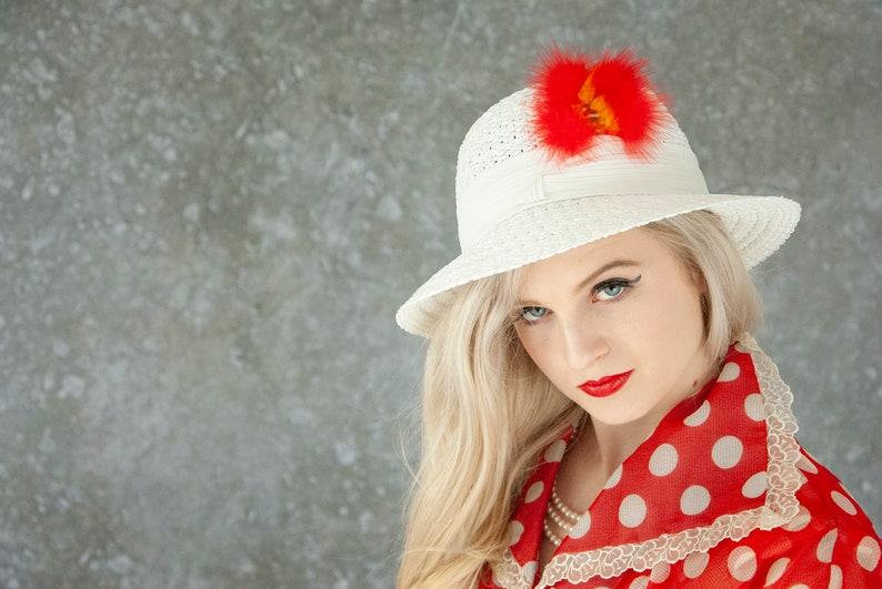 Vintage white sun hat red orange feather woven brim 1970s image 0