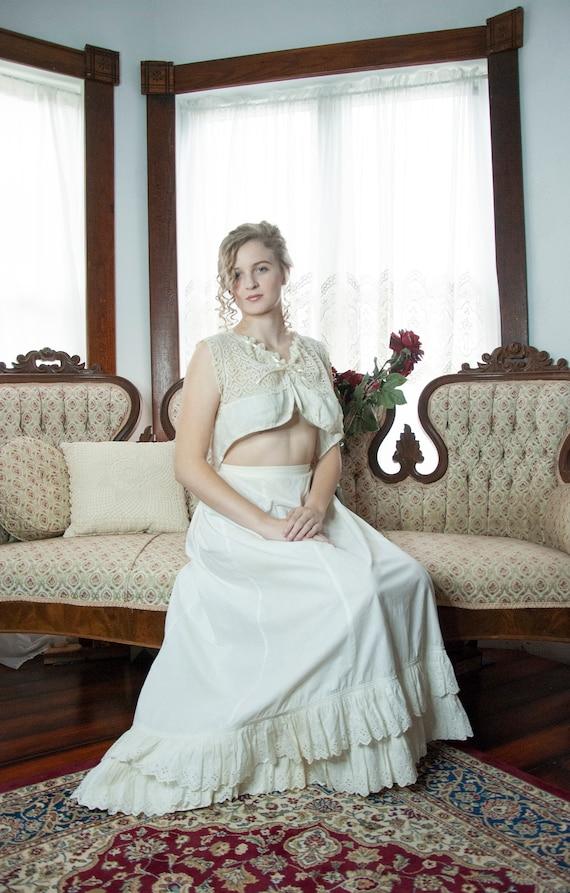White Victorian petticoat, antique cotton long ha… - image 2
