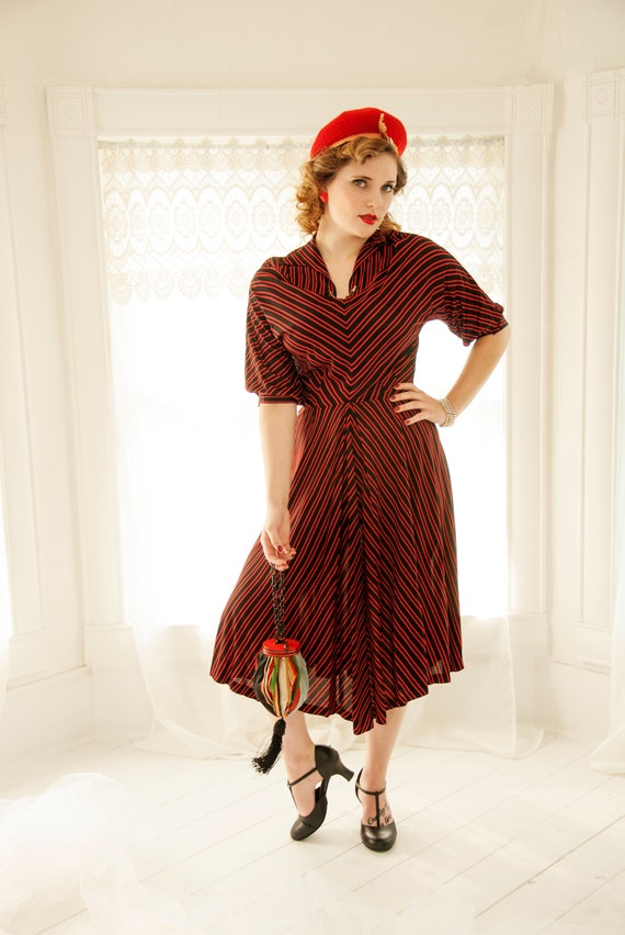 Vintage 1940s Red Black Striped Dress Midi Chevron Half Etsy