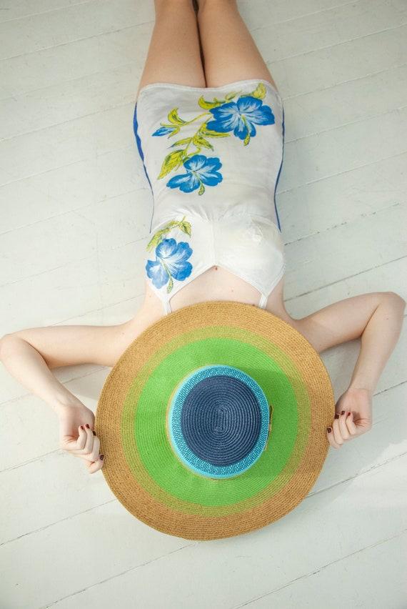 Vintage blue green wide-brim sun hat, natural stra