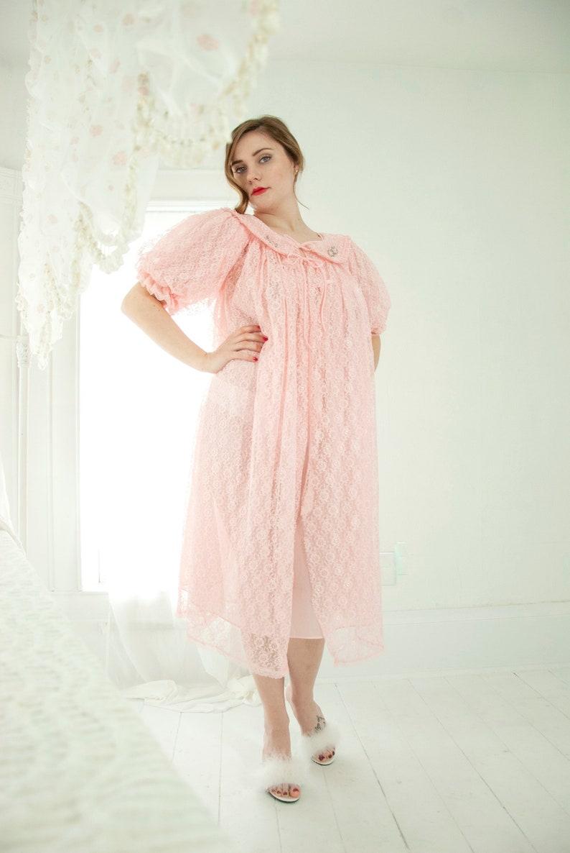 99e6d7736 Vintage 1950s pink lace peignoir set sheer nightie dress