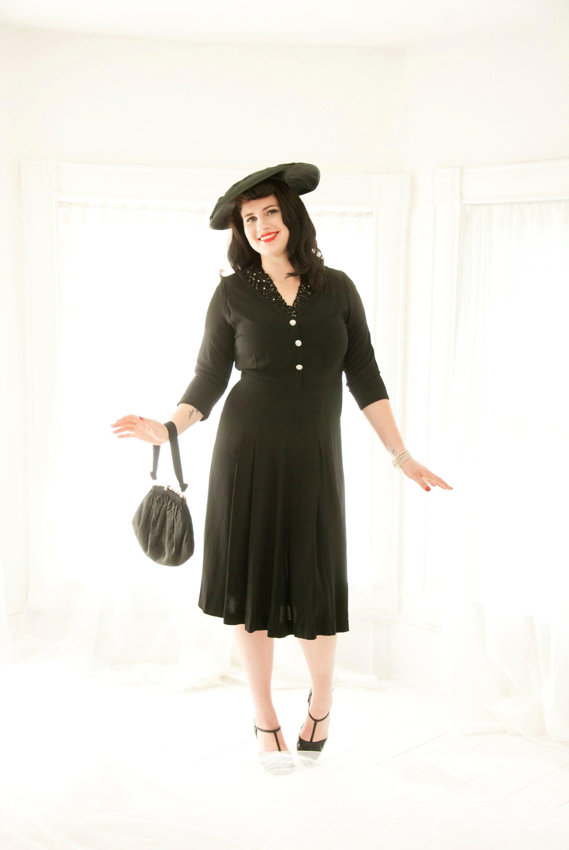 1940s Handbags and Purses History Vintage 1940S Black Dress, 34 Long Sleeves, Floral Lace Neckline Collar, Beaded Rhinestones Midi Shift Rayon Simple Classic Pin-Up, Xl $22.00 AT vintagedancer.com