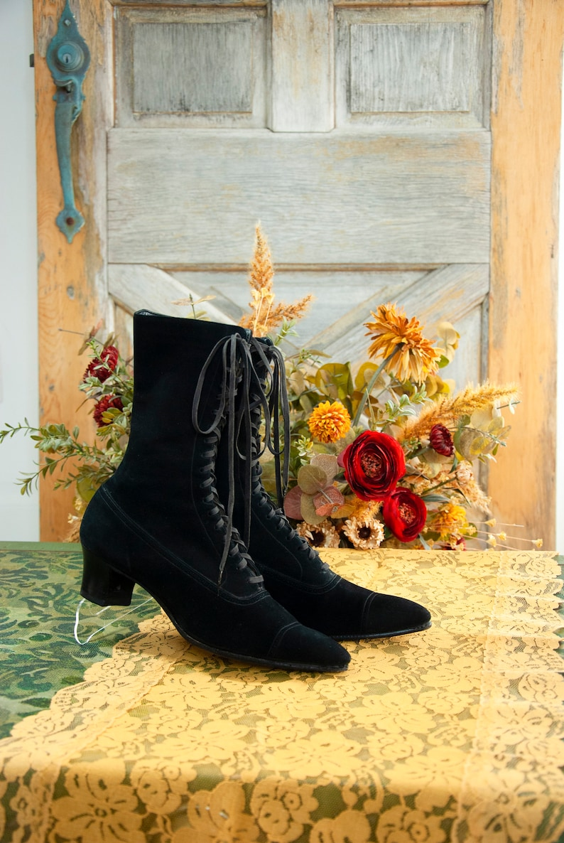 Victorian black suede boots genuine leather lace up antique image 0
