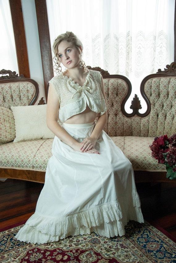 White Victorian petticoat, antique cotton long hal