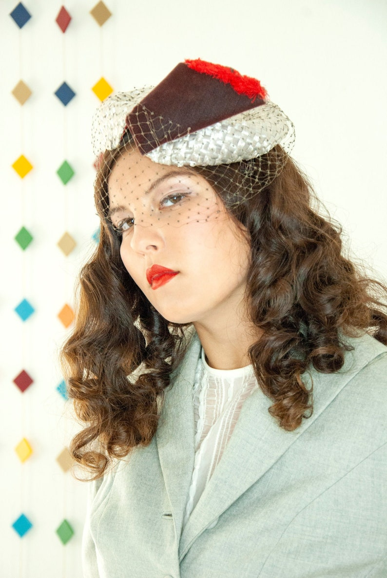 Vintage 1950s silver topper hat woven raffia red brown image 0