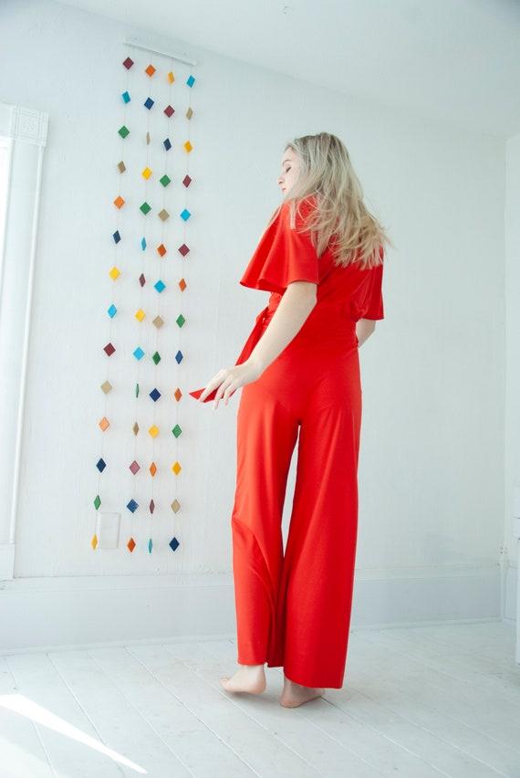 Vintage red jumpsuit red short flutter sleeve pantsuit high-waist wide-leg palazzo pants bell bottoms S M 1970s retro boho