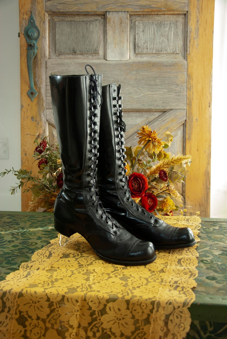 Tall black Victorian boots mens womens unisex patent leather image 0