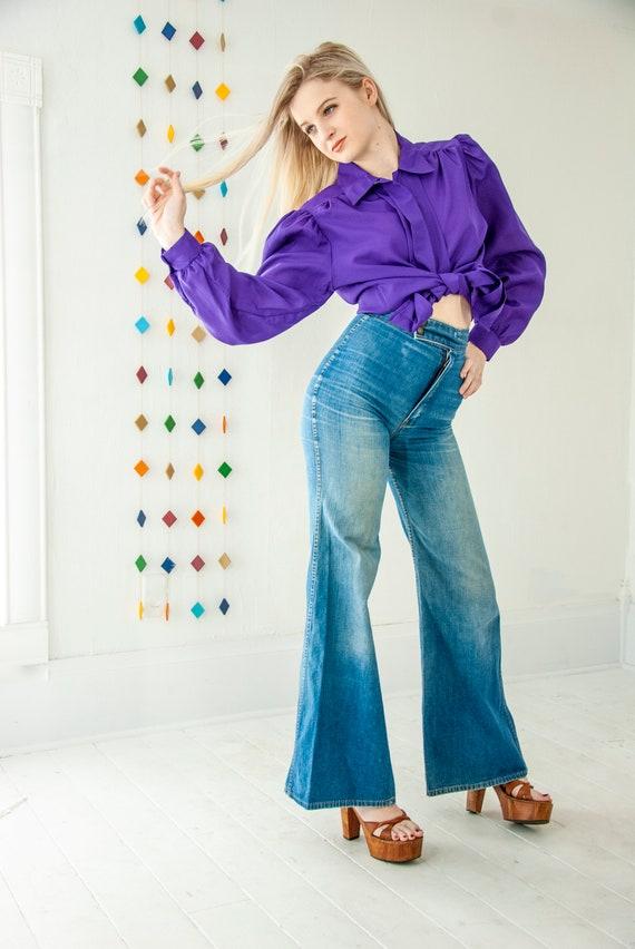 Vintage 1970s purple blouse, long sleeve silky puf