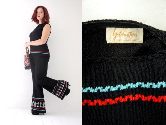 Vintage black knit pantsuit set, bellbottoms pant… - image 5