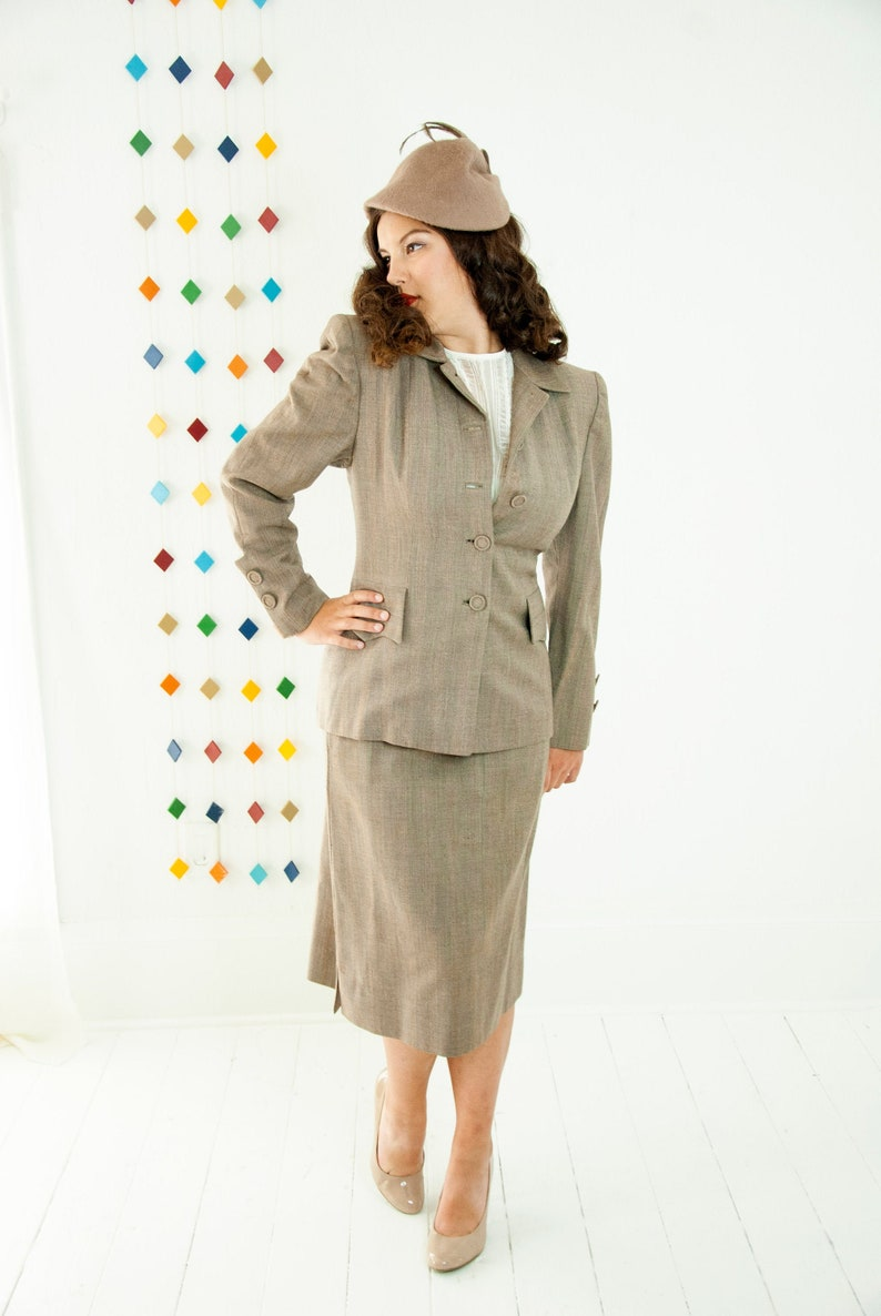 Vintage 1940s gray suit two piece fine wool blazer high waist image 0
