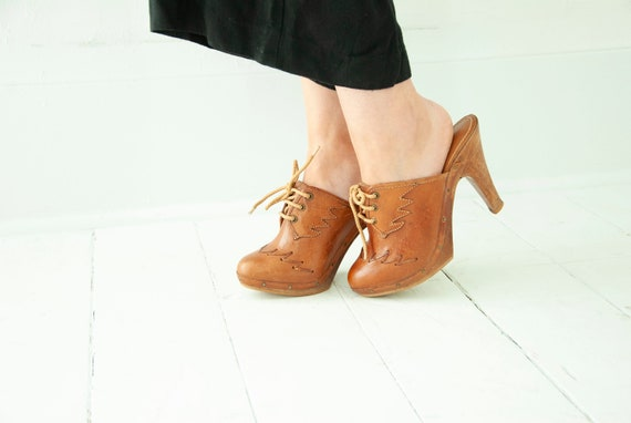 Vintage brown wooden clogs, sexy tall leather soli