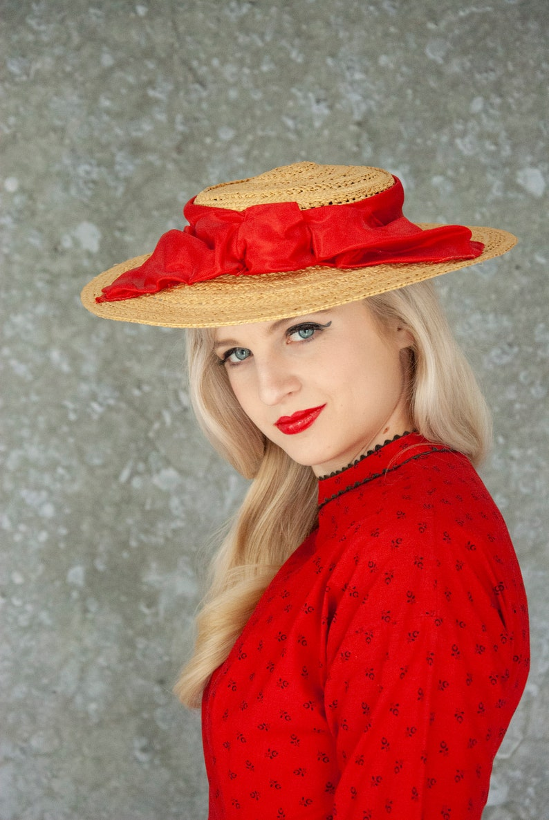Vintage 1940s red sun hat woven natural straw wide brim image 0