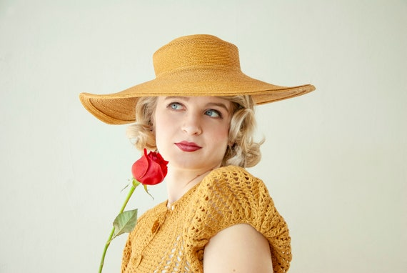 Vintage 1930s straw sun hat, woven natural wheat … - image 2