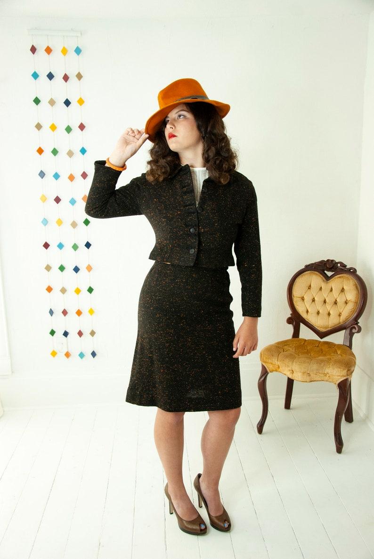 Vintage 1950s black tweed suit orange flecked wool two piece image 0