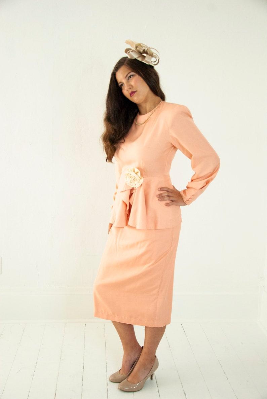 Vintage peach suit dress set silk long sleeves ivory rosette image 0