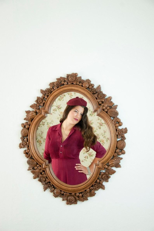 Vintage large floral mirror brown decorative carved fruit image 0