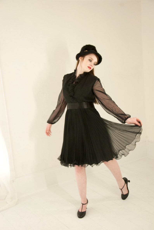 c6da2a08f74b Vintage sheer black dress long sleeves knee-length chiffon | Etsy