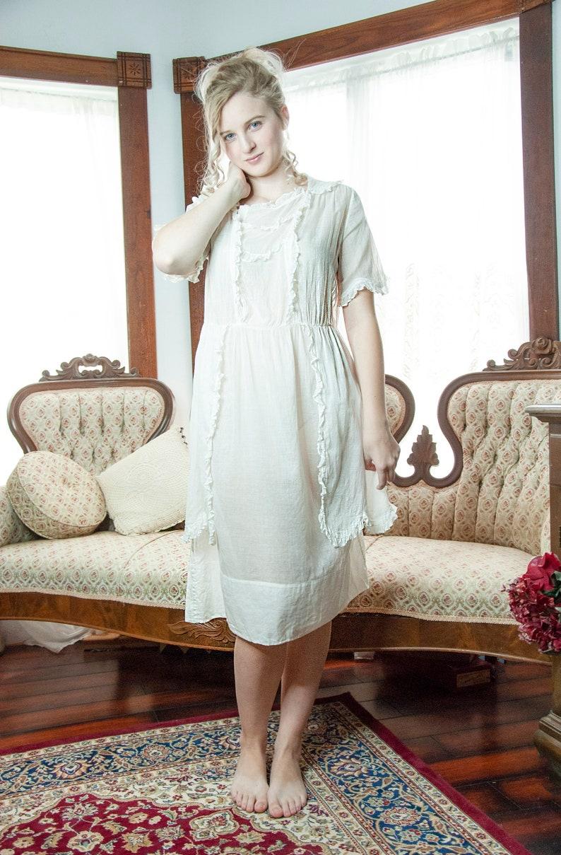 White 1920s dress antique early century light cotton image 0