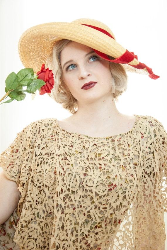 Vintage 1930s straw sun hat, red velvet ribbon, w… - image 8