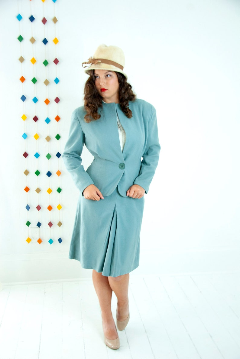 Vintage 1940s dusty blue suit two piece blazer high waist image 0