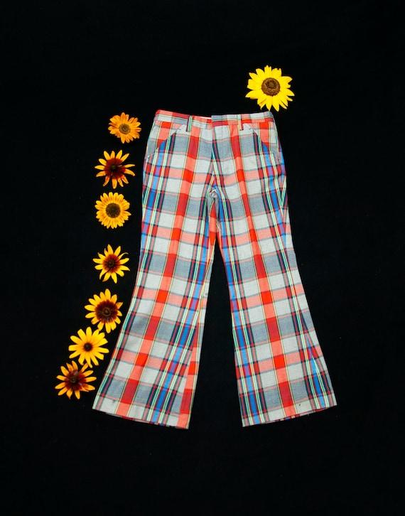 Vintage plaid bell bottom pants, red white blue hi