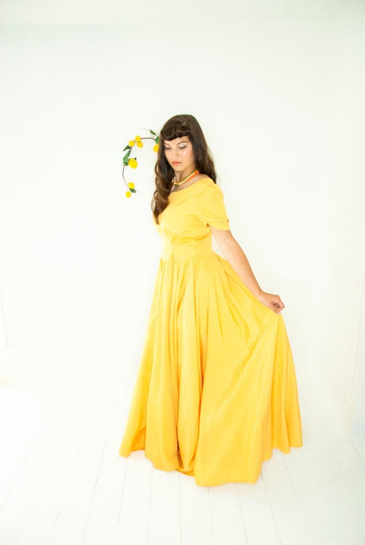 Vintage 1930s mustard dress short sleeve formal gown floor image 0