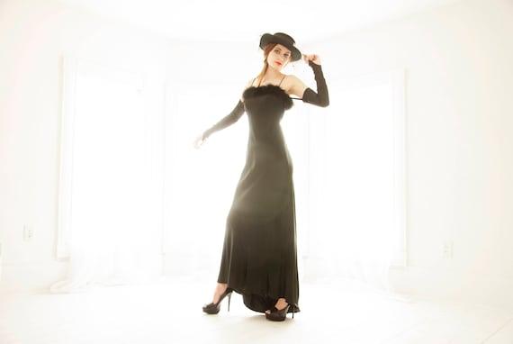 Vintage Black Formal Dress Opera Gloves Sleeveless Satin Etsy