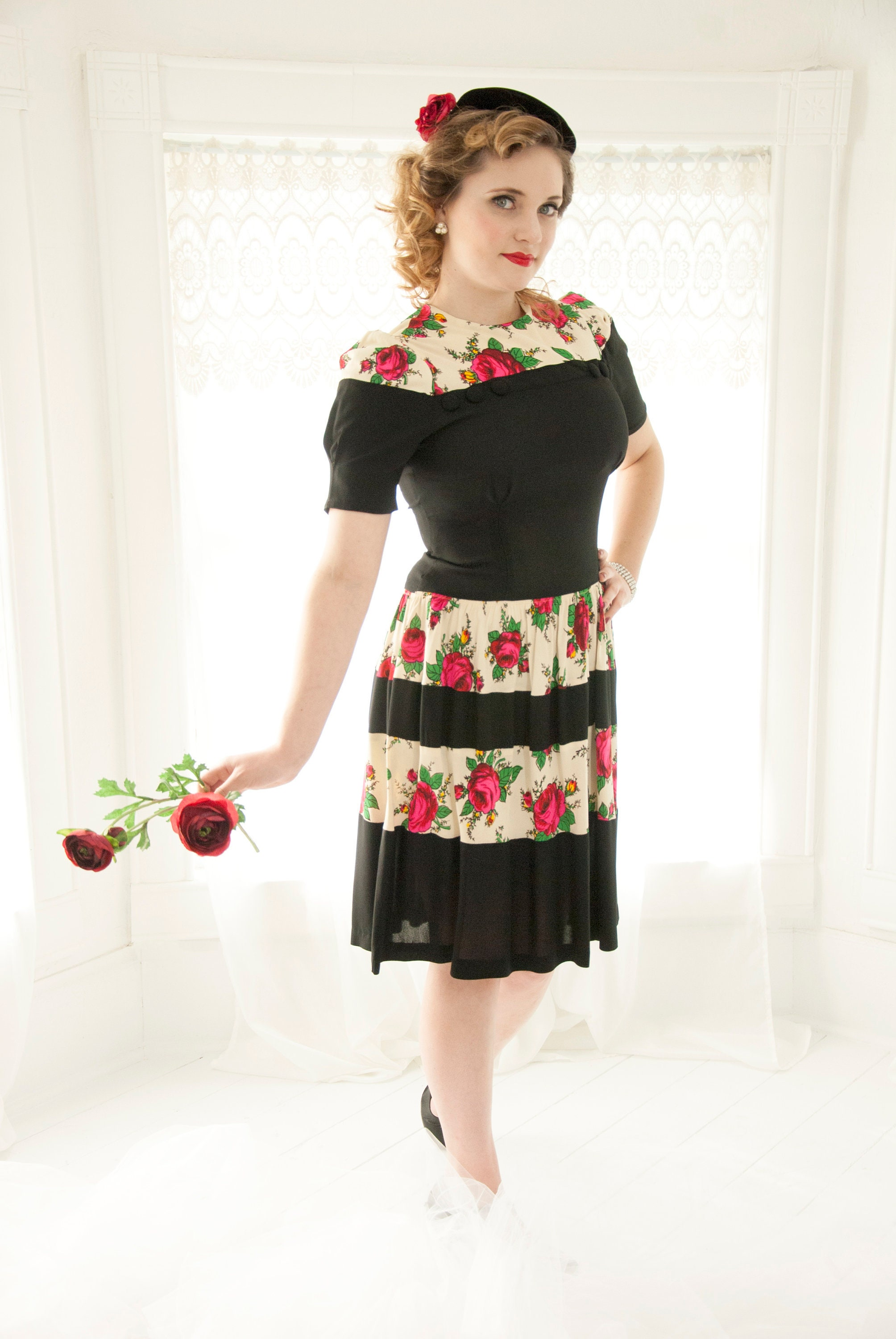 Vintage 1940s Red Roses Dress Black White Stripes Pink Flowers
