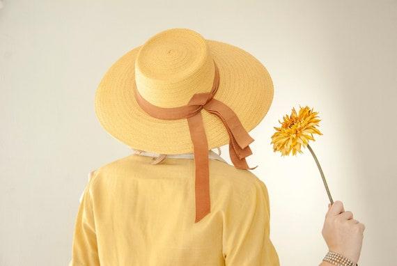 Stetson Flower Vintage Trilby Straw Hat Hats summer hat beach hat straw